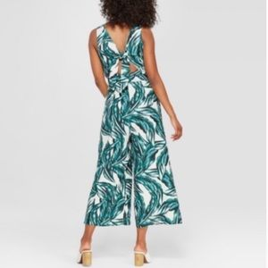 Who What Wear Pants - Who What Wear Linen Tie Back Jumpsuit Tropical